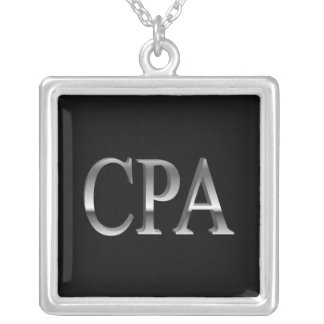 Accountant CPA Black Silver Necklace