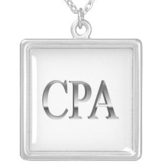 Accountant CPA White Silver Necklace