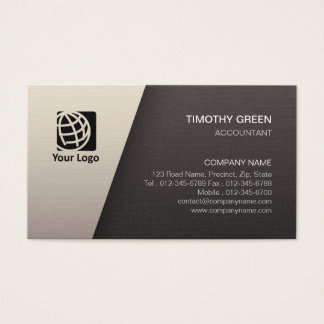 Accountant Financial Services Simple White Black Business Card