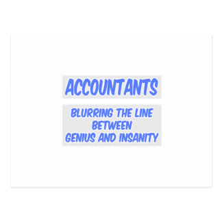 Accountant Joke .. Genius and Insanity Postcard