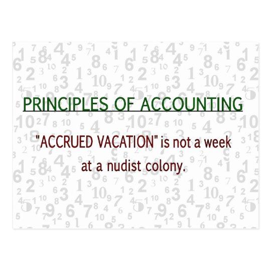 Accounting Accrued Vacation Postcard