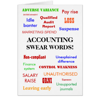 Accounting Swear Words! Blank Greeting Card