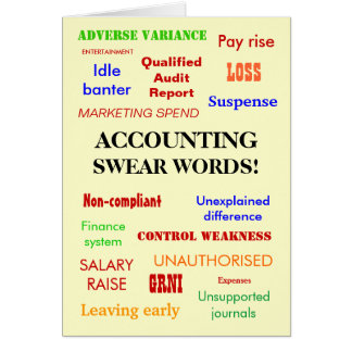 Accounting Swear Words! Good Luck Card
