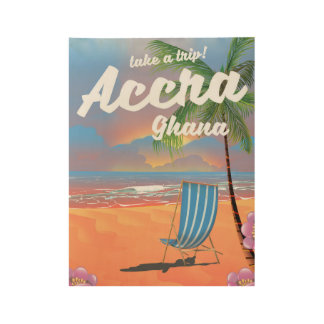 Accra Ghana beach travel poster