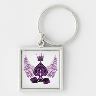 Ace Asexual LGBT Pride Wings and Crown Key Ring
