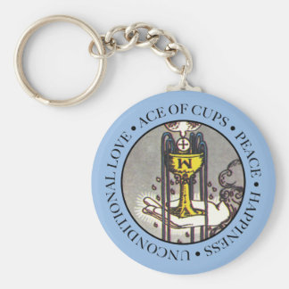 Ace of Cups with Text Key Ring