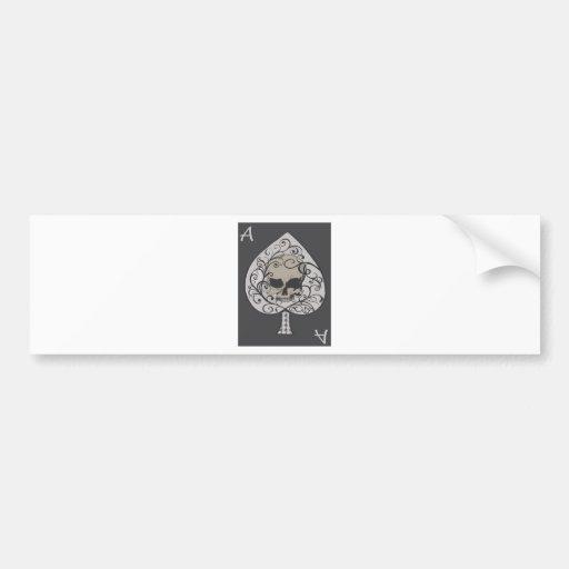 Ace of Spades Decorative Skull Bumper Sticker