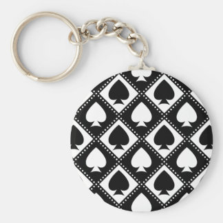 Ace of Spades Motif Key Ring