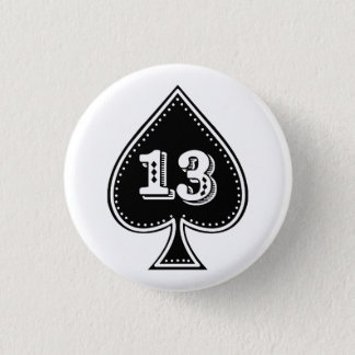 Ace of Spades Number 13 Rock and Roll Button