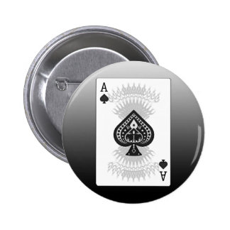 Ace of Spades Poker Card: 6 Cm Round Badge