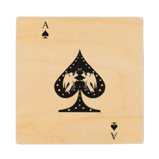 Ace of Spades Wood Coaster