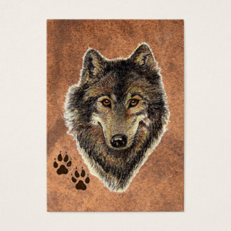 ACEO ATC Original Watercolor Grey Wolf Business Card