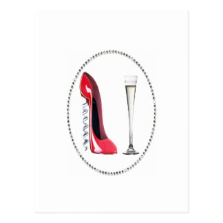 ACEO Print Red Stiletto and Champagne Postcard