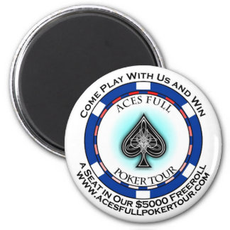 Aces Full Poker Tour Sticker 6 Cm Round Magnet