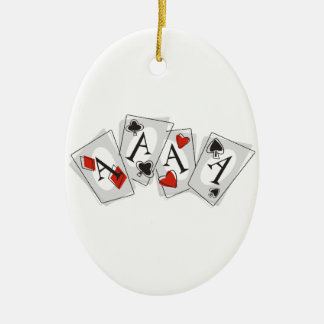 Aces High Ceramic Ornament