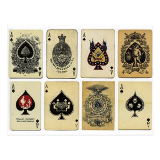 aces of spades vintage postcard