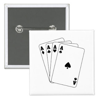 Aces Poker Hand 15 Cm Square Badge