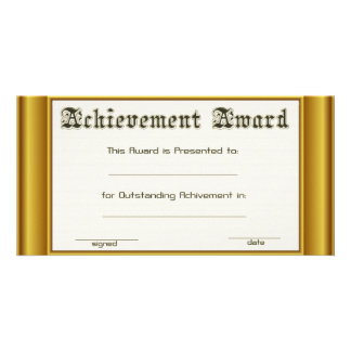 Achievement Award  With Gold Edges Photo Card Template