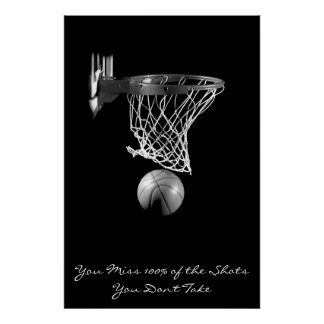 Achievement Motivational Basketball Black & White Poster