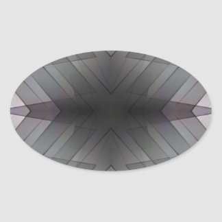 Achromatic geometric symmetric square tile oval sticker