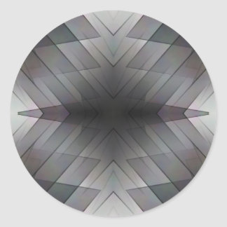 Achromatic geometric symmetric square tile round sticker