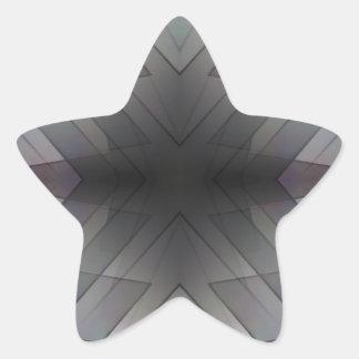 Achromatic geometric symmetric square tile star sticker