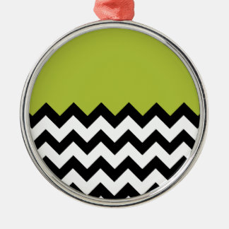 Acid-And-Black-&-White-Chevron-Pattern Silver-Colored Round Decoration