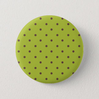 Acid Green And Brown Polka Dots Pattern 6 Cm Round Badge