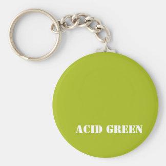 Acid green basic round button key ring