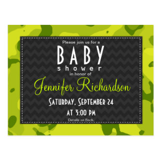 Acid Green Camo Baby Shower Invitation Post Card