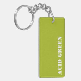 Acid green Double-Sided rectangular acrylic key ring