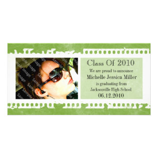 Acid Green Film Frame Grunge Graduation Photo Card