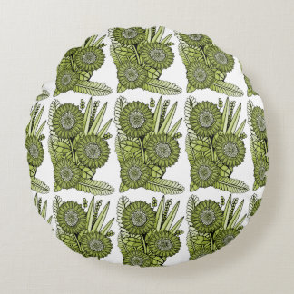 Acid Green Gerbera Daisy Flower Bouquet Round Cushion