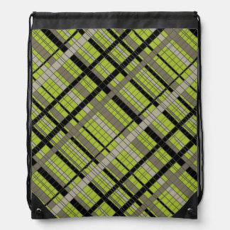 Acid Green Nuetrals Plaid Drawstring Backpack