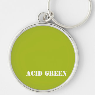 Acid green Silver-Colored round key ring