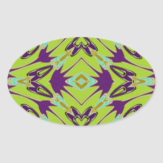 Acid Green Violet Abstract Flower Pattern Oval Stickers