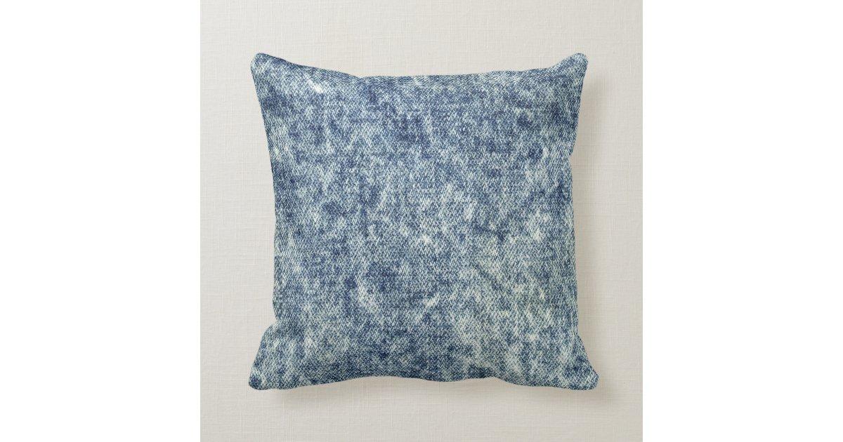 Washing Down Decorative Pillows : Acid Wash Blue Jean Throw Pillow Throw Cushion Zazzle