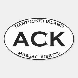 ACK - Nantucket Island Massachusetts Oval Sticker