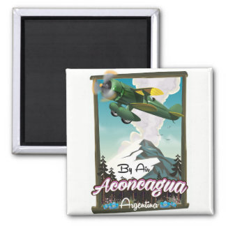 Aconcagua -Argentina vintage flight poster print. Magnet