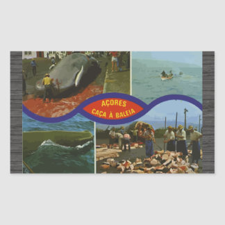 Acores Caca A Baleia Vintage Rectangular Sticker
