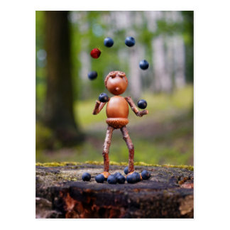 Acorn elf playing with blueberries and strawberry postcard
