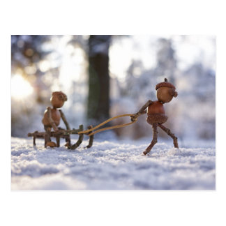 Acorn elves driving on a sleigh postcard