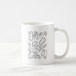 Acorn Gems Line Art Design Coffee Mug