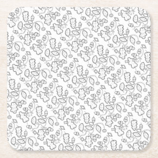 Acorn Gems Line Art Design Square Paper Coaster