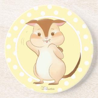 Acorn the Chipmunk Pastel Yellow Polka-Dot Coaster