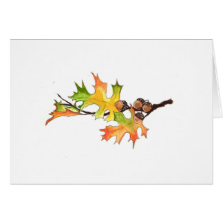 acorns and autumn leaves card