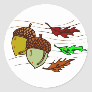 Acorns And Leaves Round Sticker