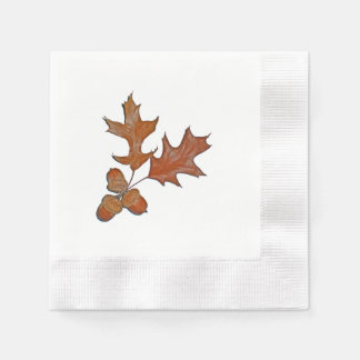 Acorns and Oak Leaves Fall Botanical Print Paper Napkin