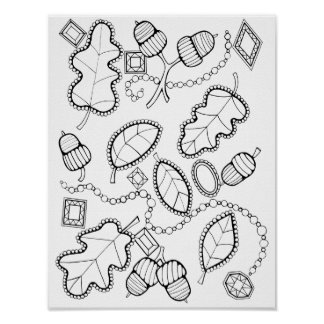 Acorns Gems Leaves Cardstock Adult Coloring Page Poster