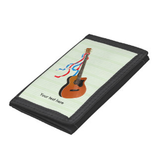Acoustic Bass Guitar American Music Trifold Wallets